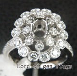 Diamond Engagement Semi Mount Ring 14K White Gold Setting Oval 5x7mm - Lord of Gem Rings - 3