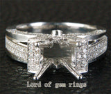 Diamond Engagement Semi Mount Ring 14K White Gold Setting Round 8-8.5mm - Lord of Gem Rings - 3