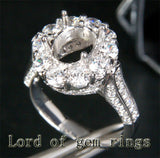Diamond Engagement Semi Mount Ring 14K White Gold Setting Oval 7x9mm - Lord of Gem Rings - 3