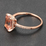Cushion Morganite Engagement Ring Pave Diamonds Wedding 14K Rose Gold 6x8mm CLAW PRONGS - Lord of Gem Rings - 2