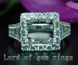 Baguette/Round Diamond Engagement Semi Mount Ring 14K White Gold Setting Princess 9mm - Lord of Gem Rings - 3