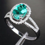 Oval Emerald Engagement Ring Pave Diamond Wedding 14k White Gold 7x9mm Split Shank - Lord of Gem Rings - 3