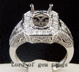 Diamond Engagement Semi Mount Ring 14K White Gold Setting Round 6.5mm - VS/H - Lord of Gem Rings - 3