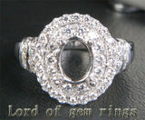 Diamond Engagement Semi Mount Ring 14K White Gold Setting Oval 6x8mm - Lord of Gem Rings - 3