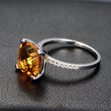 Cushion Citrine Engagement Ring Pave Diamond Wdedding 14K White Gold 9x9mm - Lord of Gem Rings - 3