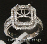 Diamond Engagement Semi Mount Ring 14K White Gold Setting Emerald Cut 8x10mm - Lord of Gem Rings - 3
