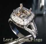 Diamond Engagement Semi Mount Ring 14K White Gold Setting Cushion 7.5mm - Lord of Gem Rings - 3