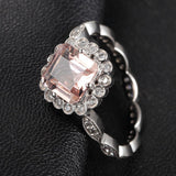 Ready to Ship -  Asscher Morganite Engagement Ring Diamond Wedding 14K White Gold - Lord of Gem Rings - 3