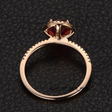 Round Pink Tourmaline Engagement Ring Pave Diamond Wedding 14K Rose Gold 7mm - Lord of Gem Rings - 3