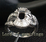 Diamond Engagement Semi Mount Ring 14K White Gold Setting Oval 6x8mm Channel - Lord of Gem Rings - 3