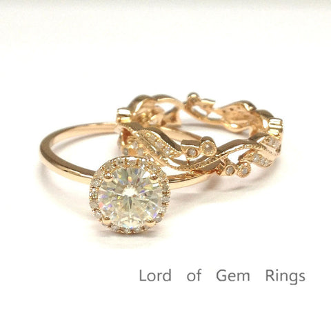 Round Moissanite Engagement Ring Sets Pave Diamond Wedding 14K Rose Gold 6.5mm - Lord of Gem Rings - 3