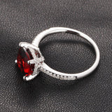 Cushion Garnet Engagement Ring Pave Diamond Wedding 14K White Gold 8x8mm - Lord of Gem Rings - 3