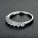 Round Morganite Engagement Ring 14K White Gold 7 Stones 3mm - Lord of Gem Rings - 3