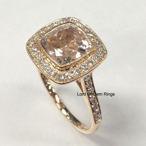 Reserved for 7dragonpearl Cushion Garne Engagement Ring 18K Rose Gold - Lord of Gem Rings - 1