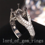 Diamond Engagement Semi Mount Ring 14K White Gold Setting Round 7mm - Lord of Gem Rings - 3