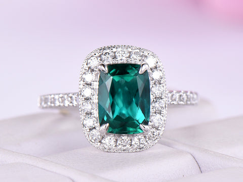 Reserved for  Itu, Cushion Emerald RIng 1.5mm diamond 14K white gold 6x8mm