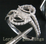 Diamond Engagement Semi Mount Ring 14K White Gold Setting Pear 3x6mm - Lord of Gem Rings - 3