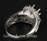 Unique 8mm Round Cut 14K White Gold 1.05CT Diamond Semi Mount Ring Setting 6.34g - Lord of Gem Rings - 3
