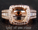 Diamond Engagement Semi Mount Ring 14k Rose gold Setting Round 9mm - Lord of Gem Rings - 3