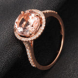 Ready to Ship - Round Morganite Engagement Ring Pave Diamond Wedding 14K Rose Gold 8mm - Lord of Gem Rings - 4