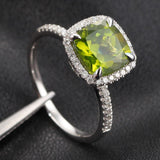 Cushion Peridot Engagement Ring Pave Diamond Wedding 14K White Gold 8mm Claw Prongs - Lord of Gem Rings - 3