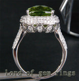 Cushion Peridot Engagement Ring Pave Diamond Wedding 14K White Gold 5.93ct - Lord of Gem Rings - 3