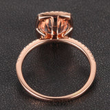 Oval Morganite Engagement Ring Pave Diamond Wedding 14K Rose Gold 7x9mm Cushion Halo - Lord of Gem Rings - 4