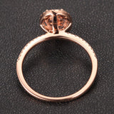 Oval Morganite Engagement Ring Pave Diamond Wedding 14K Rose Gold 6x8mm CLAW PRONGS - Lord of Gem Rings - 3
