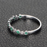 Emerald  Diamond Wedding Band Half Eternity Anniversary Ring 14K White Gold,Bezel Set - Lord of Gem Rings - 3