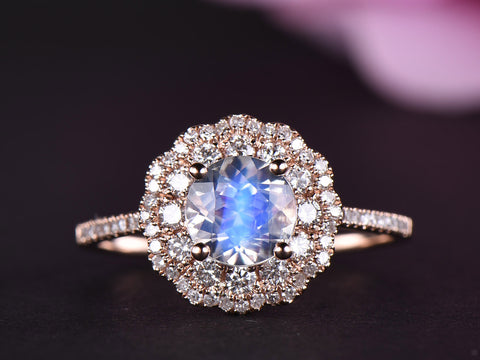 Reserved for Matthew: Round Moonstone Ring Double Moissanite Halos 14k Rose Gold 6.5mm