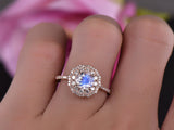 Round Moonstone Ring Full Cut Double Diamond Halos 14k Rose Gold 6.5mm