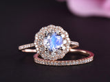 Round Moonstone Ring  Bridal Sets Diamond Double Halo 14k Rose Gold 6.5mm