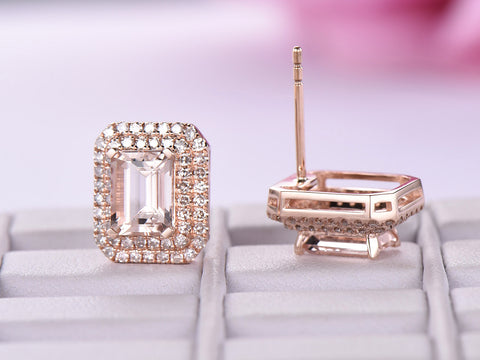Emerald Cut Morganite Earrings Pave Diamonds Halo,14K Rose Gold,5x7mm, Stud