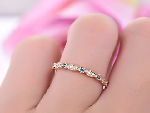 Alexandrite Diamond Band April/June Birthstone Half Eternity Ring 14K Rose Gold