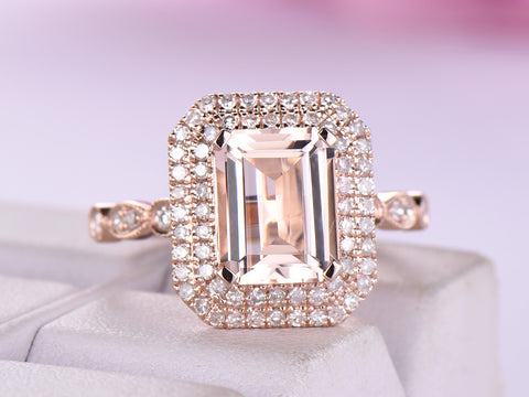 Emerald Cut Morganite Ring Diamond Double halo Art Deco Band 14K Rose Gold 7x9mm