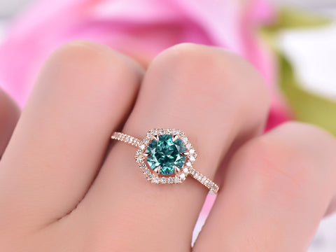 Round Alexandrite Engagement Ring Pave Diamond 14K Rose Gold 7mm, Hexagon Halo