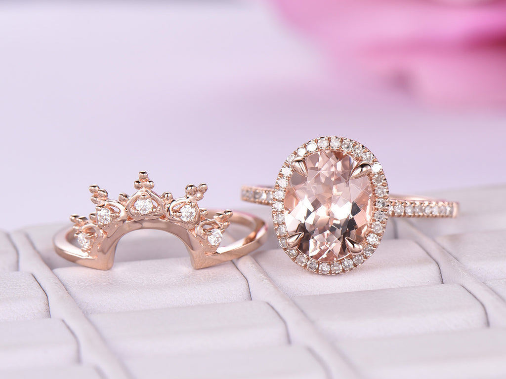 Oval Morganite Engagement Ring Sets Moissanite Tiara Wedding band 14K Rose Gold 8x10mm