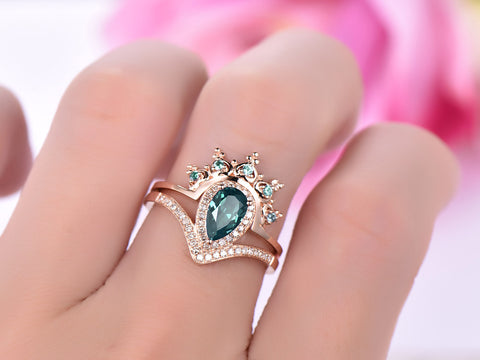 Pear Alexandrite Engagement Ring Sets Alexandrite Tiara Ring Enhancer 14K Rose Gold 5x8mm