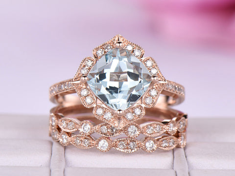 Cushion Aquamarine Ring Bridal Trio Sets Art Deco Diamond Band 14K Rose Gold 8mm