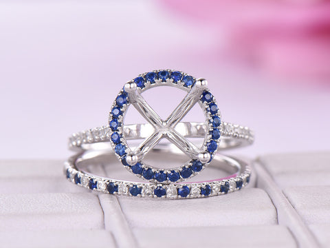 Sapphire/Diamond Engagement Semi Mout Ring bridal Sets 14K White Gold Round 8.5mm