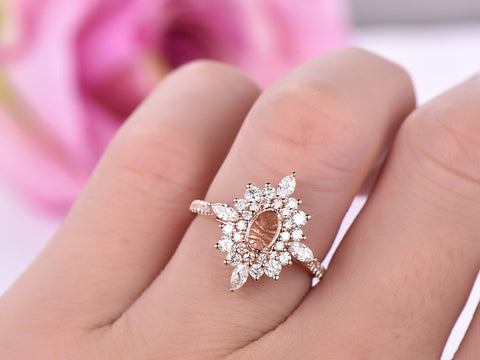 Marquise/Round Diamond Double Halo Semi Mount Ring 14K Rose Gold Oval 4x6mm