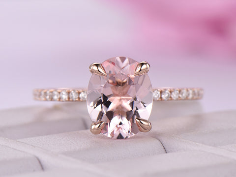Oval Morganite Ring Pave Diamond Shank 14K Rose Gold 8x10mm