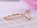 Reserved for Gy- Oval Morganite Ring Pave Diamond Shank 14K Rose Gold 11x9mm