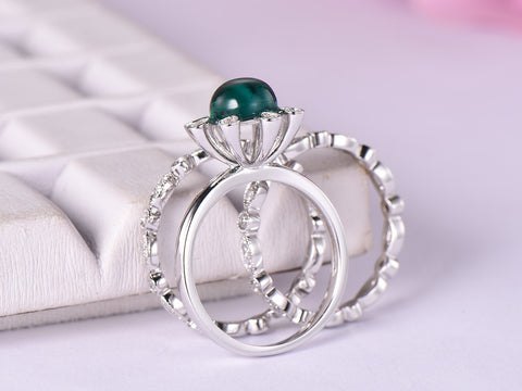 Round Emerald Engagement Ring Bridal Trio Sets Diamond Wedding 14K White Gold 7mm