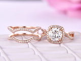 Round Moissanite Ring Sets Diamond Infinite Love Ring Guard 14K Rose Gold 7.5mm