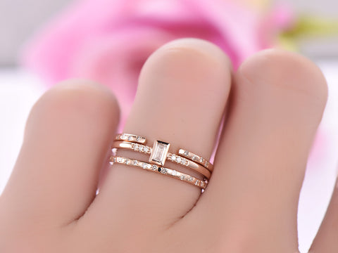 Baguette Diamond Wedding Ring Trio Bridal Sets 14K Rose Gold