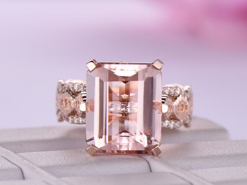 Emerald Cut Morganite Engagement Ring Lace Pattern Filigree Shank 14K Rose Gold 10x12mm