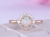 Round Opal Engagement Ring Full Cut Diamond Wedding 14K Rose Gold 6mm