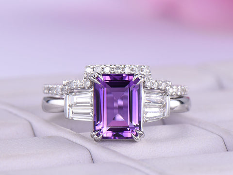 Emerald Cut Amethyst Ring Sets Contour Diamond Wedding band 14K White Gold 6x8mm