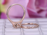 Cushion Moissanite Engagement Ring Sets Art Deco Diamond band 14K Rose Gold 6.5mm